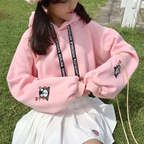 women fashion autumn winter cute hooded sweatshirts sweet style cartoon print ribbon kawaii hoodies student harajuku fleece