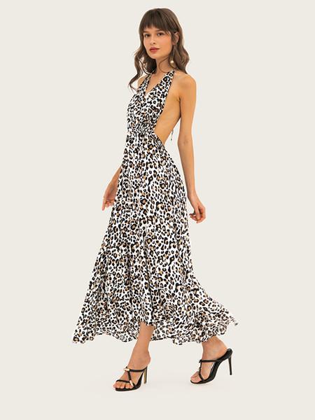Falda para mujer Vestidos de verano con estampado de leopardo atractivo Con cuello en V Cintura alta Halter Falda Estilo de playa Vestido de club nocturno para mujeres Tamaño X-2XL