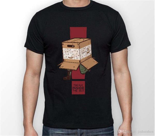 2018 Yaz Tarzı T Gömlek Metal Gear Solid Içinde Düşünmek kutu Yılan MGS Unisex Tshirt T-Shirt Tee TÜM 100% Pamuk Gömlek BOYUTLARı