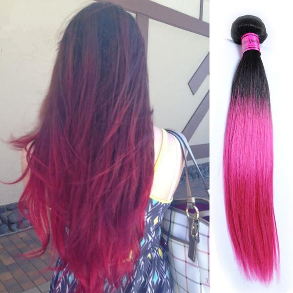 Pacotes de Cabelo Humano Ombre 3 PCS Lote Um Pacote 1B / Rosa Raízes Escuras Cabelo Liso Brasileira Rosa Rosa Pré-Coloridas Não Remy cabelo