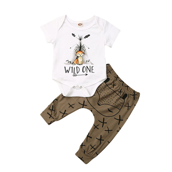 CANIS baby's sets Cute Newborn Baby Boys Girls unisex Tops bodysuits long Pants Infant casual Outfits Clothes 2Pcs Set