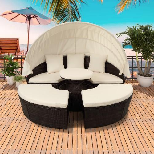 2019 Patio Furniture Round Outdoor Sectional Sofa Set Rattan Daybed Sunbed  With Retractable Canopy Height Adjustable Table Footrest Separate Se From  ...