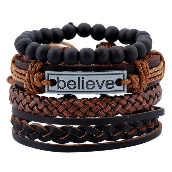 Weave Vintage Punk Genuine Leather Bracelets for Male Friendship Believe Charm Bracelet Men Female Jewelry Accessories