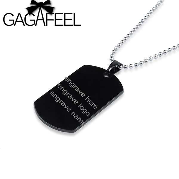 Fashion Jewelry GAGAFEEL Custom Logo Pendant Stainless Steel Engrave Your Name On Necklace, ID Tag Necklace ,Gift For Boyfriend