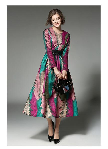 Venda Por Atacado mulheres vintage high-end mulheres vestido primavera jacquard gola redonda de mangas compridas mid-long dress
