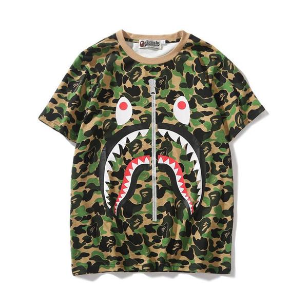 19SS New Lover Green Pink Blue Camo Zipper Shark Print T-Shirts Men Women Personality Short Sleeve T-shirts Sizes M-2XL