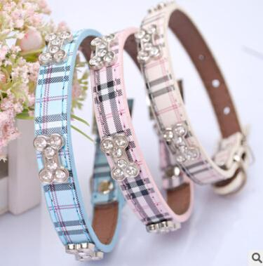 Plaid Dog Collar Bling Rhinestone Bone Necklace Fashion Pet Soft PU Leather Small Dog Cat Collars Puppy Teddy Lovely Necklaces