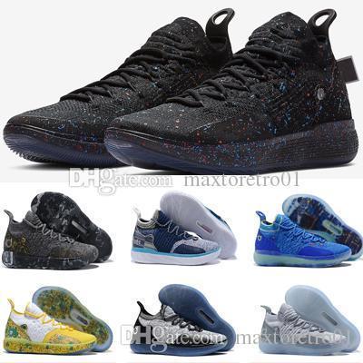 Yüksek kaliteli KD 11 Altın Sıçramak Basketbol Ayakkabıları Kevin Durant 11 s BHM Sneakers Siyah / Parlak Kızıl-Fotoğraf Mavi Erkek Spor ayakkabı boyutu 7-12