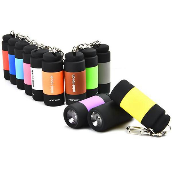 USB Mini-meşale Şarj Edilebilir LED El Feneri 0.3 W 25LM Cep USB Fener Su Geçirmez anahtarlık Lambası 12 Renkler ZZA866