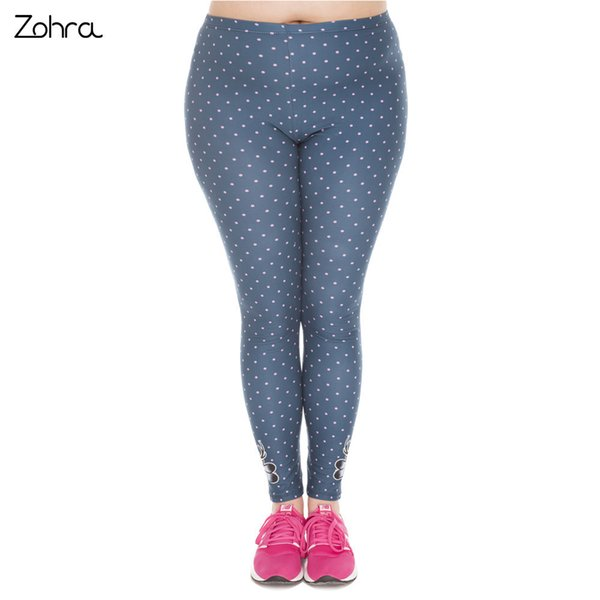 Zohra New Arrival Large Size Leggings Freeride Deer Printed High Waist Leggins Plus Size Trousers Stretch Pants For Plump Women C19041001
