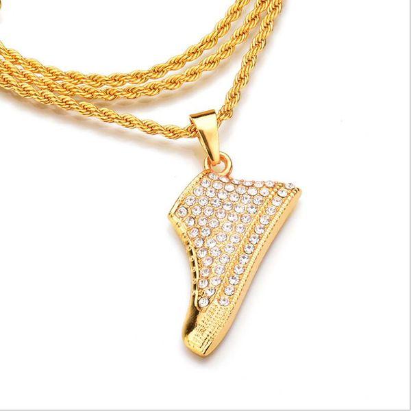 Fashion Charm Men Women Hip-hop Gold Alloy Crystal Rhinestone Shoe Pendant Necklace Jewelry Delicately Shoe Necklace