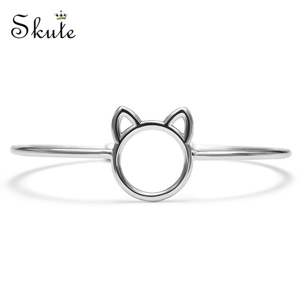 Skute Cute Cat Shape Open Cuff Bracelet Animal Design Adjustable Bangles for Women Girls Birthday Gifts Jewelry Pulseras Mujer