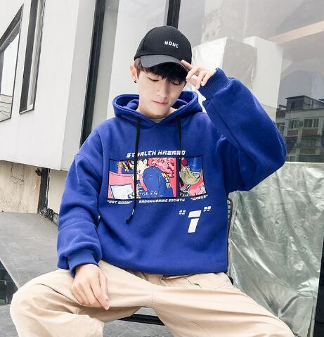 Fall and Winter Hat Students Plush Korean Pullovers Men's Sanitary Wardrobe Teenagers Leisure Fashion Long Sleeve Top