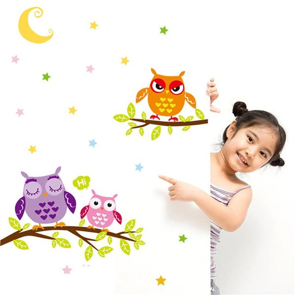 New Cartoon Cute Owl Family Moon Stars Wall Sticker For Kids Baby Rooms Poster Home Decor Wall Decal PVC Self-adhesive Art Mural