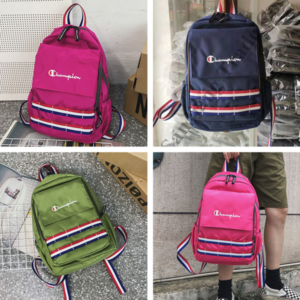 Champions Ribbon Striped Designer Backpack Oxford Cloth Colored Fashion Travel Backpacks Luxury Student Shoulder Bags School Backpack C72501