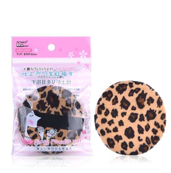 Spot New Dry Powder Fixed Makeup Cosmetic Leopard-print Puff Pure Cotton Super-soft Powder Round Flocking Powder Puff Large 8cm