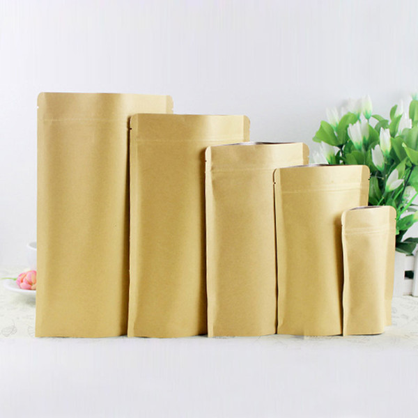 100pcs brown kraft paper bags for gifts/candy/tea/food/wedding not window stand up zipper kraft bags crafts Packing bag Display