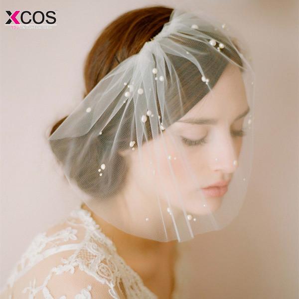 Elegant Tulle Pearls Bridal Hats Hair Face Veil chapeau mariage Headpiece Party Birdcage Veil Wedding Accessories
