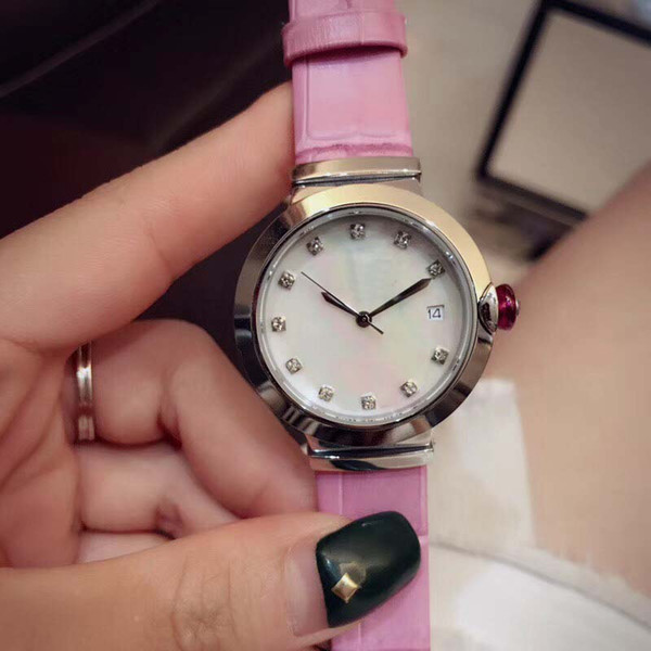 Elegant 33MM Quartz Movement Womens Watches Ladies Watch Mother Of Pearl Blue Dial Diamond Hour Markers With Pink Leather Band Pink Crown