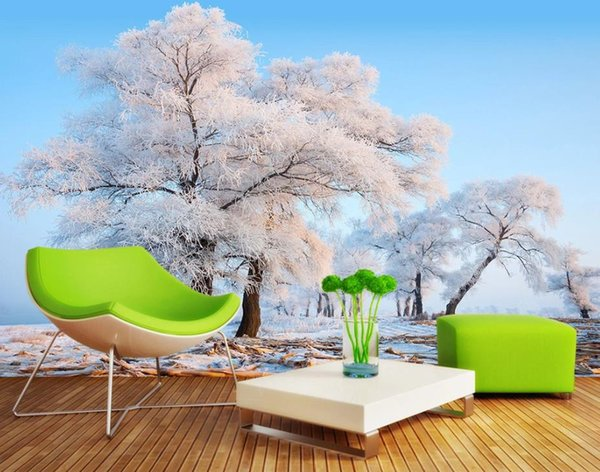 Snow scene, television background, wall painting 3d murals wallpaper for living room