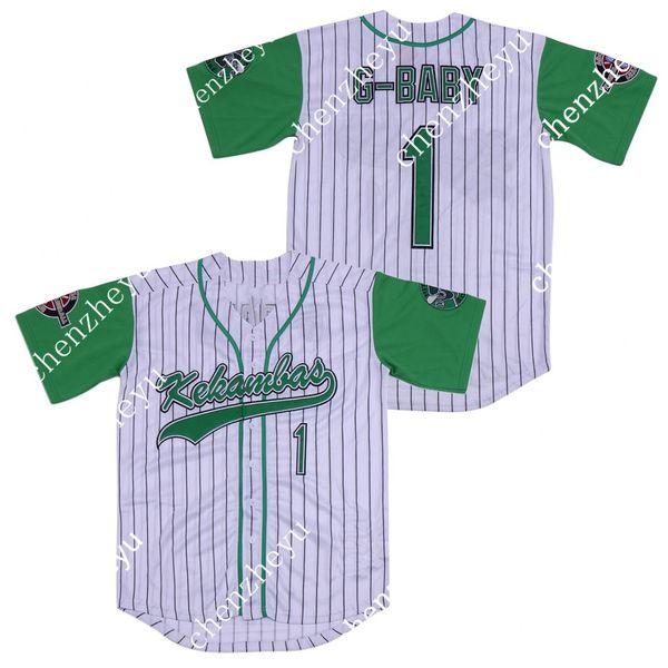 Filme Hardball # 1 Jairo G-Baby Evans branco DeWayne Warren costurado Kekambas Film Baseball Jerseys