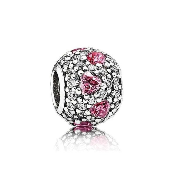 NEW 100% 925 Sterling Silver 1:1 Authentic 791249CZS Fancy Pink Heart Pave Ball Charm Bracelet Original Women Jewelry