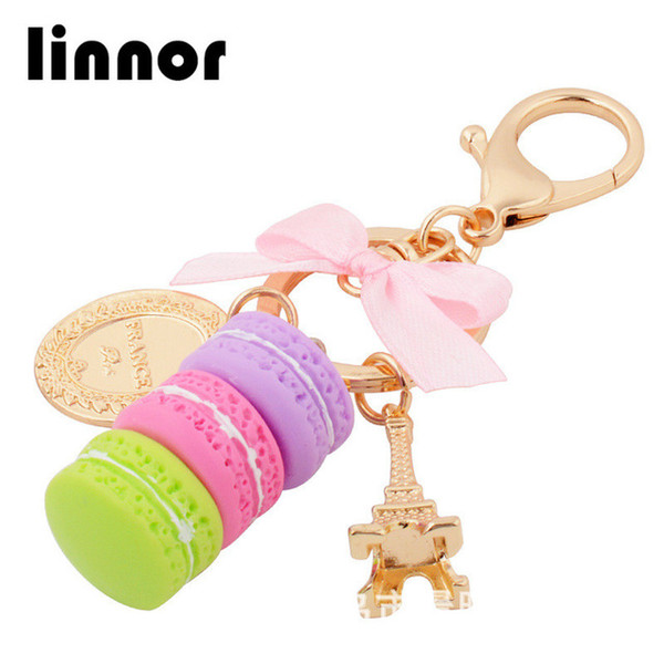 Linnor Lovely Cake Macaron Keychains Keyring Gold Metal Fashion Paris Tower Key Chain Holder Rings for Girls Party Gift