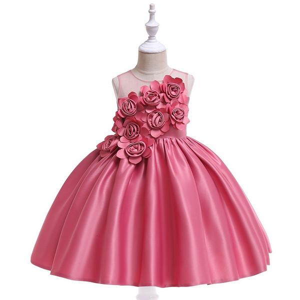 Mezclas de algodón Vestidos de niña con flores de satén 3D Unida Tutu Falda larga Fiesta formal Vestido de fiesta