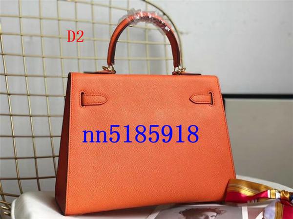Bolso de cadena de cuero del bolso de hombro de becerro anaranjado de las señoras de la manera del envío libre con la bolsa anti polvo los 25cm, accesorios de hardware del oro de los 28CM
