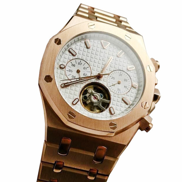 2019 Top Luxury Men's Watch Series Gold Stanless Steel 42mm High Quality Chronograph Automatic Movement Sports Men Watches