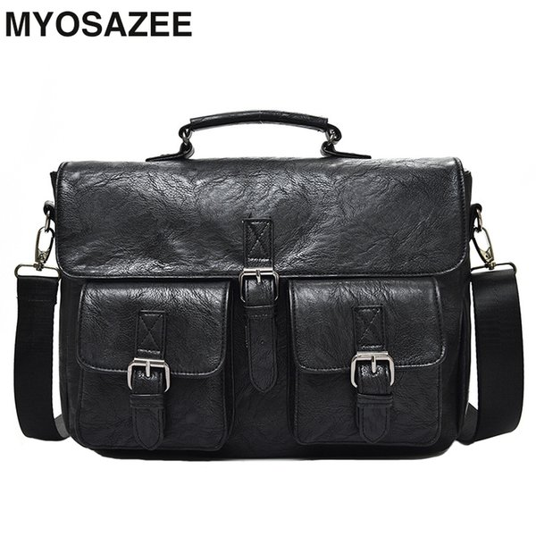 MYOSAZEE Multifunctional Men Shoulder Diagonal Bag Business Briefcase Pu Leather Backpack Mens Fashion 14 inch Bags