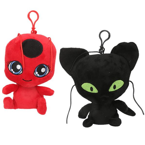 15 cm / 6 pulgadas NUEVO ladybug y gato negro juguetes de peluche de dibujos animados Animales de peluche suave muñeca de buena calidad llavero Colgante C6357