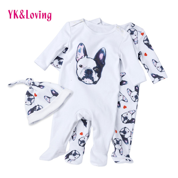 Baby Overalls Bulldog Long Sleeve Rompers Clothing Cotton Dog Anima New Autumn/winter Newborn Girl Boy Jumpsuit Hat Q190520