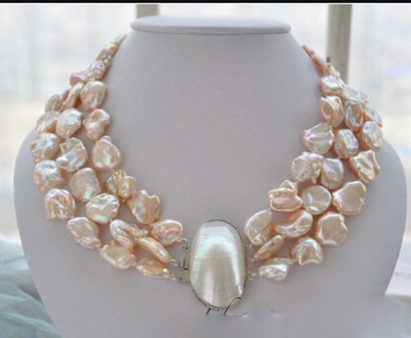 necklace Free shipping ++++ 809 strands 19mm BAROQUE pink KESHI REBORN PEARL NECKLACE