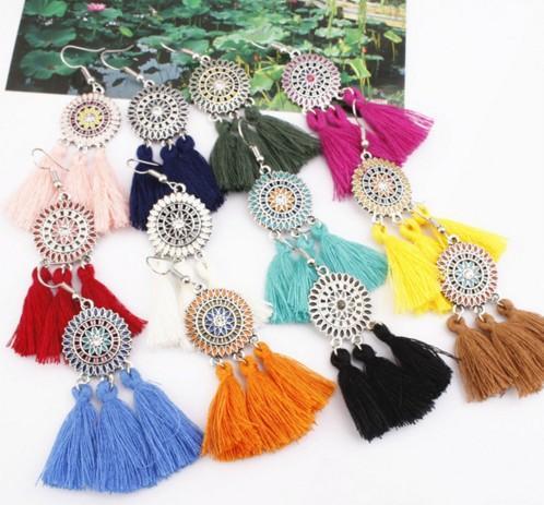 Bohemian Flower Tassel Earrings for Women Green Big Statement Earrings Female 2019 Wedding Fringe Hanging Earings Jewelry