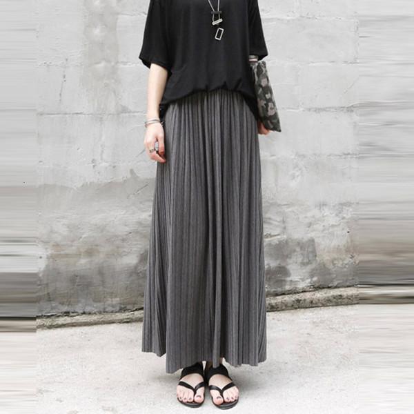 Gonne lunghe Gonna lunga autunno-inverno cotone elastico vita alta Maxi Gonne Moda Donna Streetwear epoca Falda femminile Saia Longa