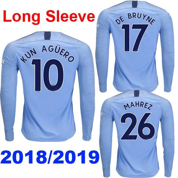 Uzun kollu MENDY 18 19 erkek futbol formaları 2018 2019 şehir MAHREZ JESUS DE BRUYNE AGUERO futbol forması BERNARDO Camiseta WALKER SANE maillot