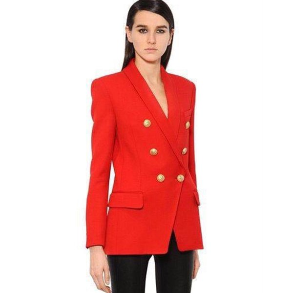 New arrival slim fit golden metal buttons long sleeve double breasted jacket workwear office lady tuxedo office blazer lady