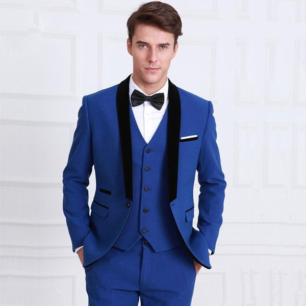 Royal Blue Slim Fit 3 Pieces Groom Tuxedos Suits for Wedding Mens Wedding Suits Jacket+Pants+Vest Business Formal Suits