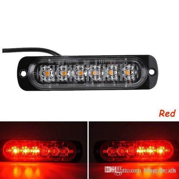 2X Ultra ince LED flaş lambası DC 12V 24V Uyarı Araba Kamyon Motosiklet 6 LED 18W Amber Yanıp sönen Acil Hazard ışıkları