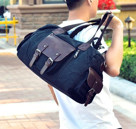 outlet brand men handbag fashion contrast color shoulder bag large capacity belt decoration men travel bag waterproof wear-resistant canv