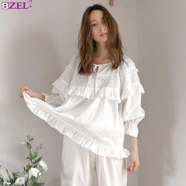 c79ba1b7bdd 2019 Autumn Winter Sexy Pajama Long Sleepwear Lingerie White Cotton Pyjamas  Women Casual Nightwear Hot Pijima Adult Loungewear Pjima From Crape, ...