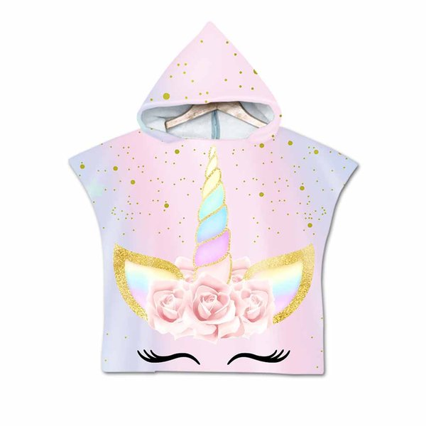 Summer 3D Digital Printing Cartoon Unicorn Hooded Towel For Kids Microfiber Beach Towel Wearable Cute Flowers Towels Coat For Children