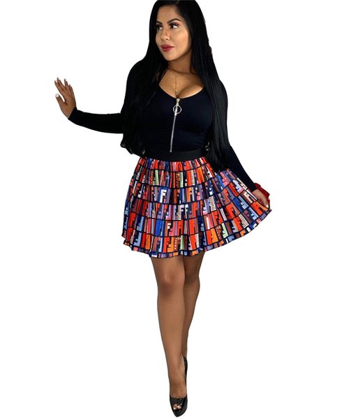 2019 FF Fends Designer Women Summer Dress Brand Pleated Skirt Letters Printed Prom Evening Dresses Party Club Beach Short Dress Cloth C61808