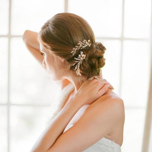 1 Pair Brand New 2019 Wedding Bride Bridal Pearls Rhinestones Crystal Hairpins Hair Accessories Headpiece Tiaras Silver Handmade Jewelry