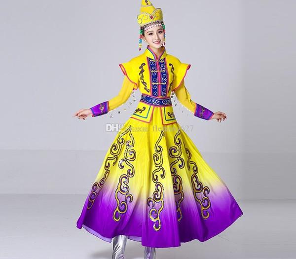 Новый дизайн длинный монгольский танец одежда платье этническое меньшинство китайское исполнение Народные танцы костюмы одежды сцены для певцов