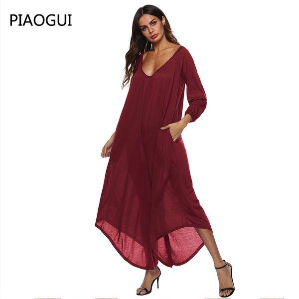 Women Loose Jumpsuit 2019 Spring Solid Color Deep V Neckline Open Back 3/4 Sleeve Irregular Wide Legs Pants Sexy Partywear