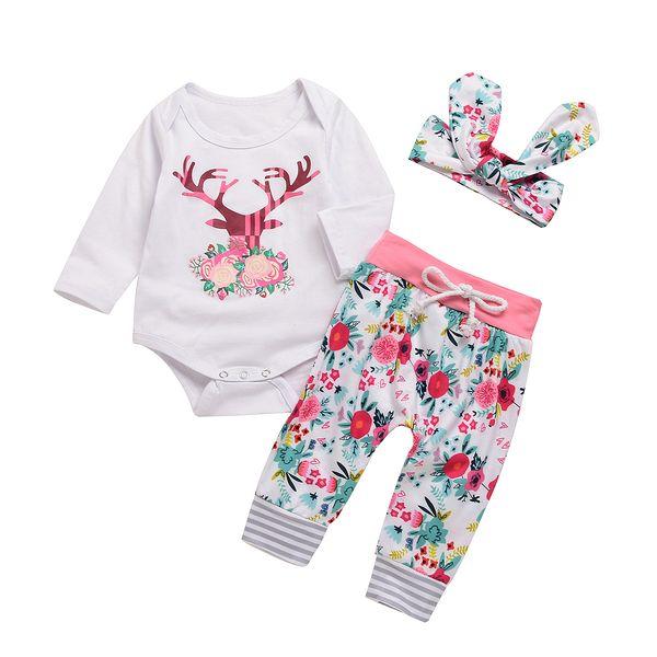 Bebê Meninas Roupas de Natal Moose Floral Impressão Crianças Vestuário Branco Manga Longa 0-18 M Algodão 3-piece Romper Calças Headband Roupas Conjuntos