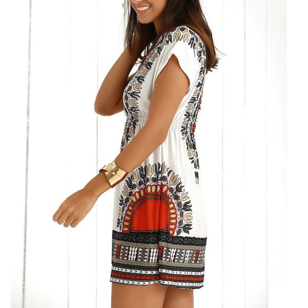 2019 Fashion Sexy Womens Casual Beach Casual Ethnic Print V-Neck Short Sleeve Summer Mini Dress Girls Ladies Dresses vestidos