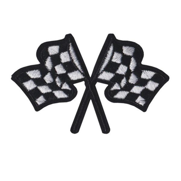 Patch brodé voiture de course drapeaux coudre le fer sur broderie correctifs Badges pour sac Jeans Chapeau T Shirt DIY Appliques Artisanat Décoration